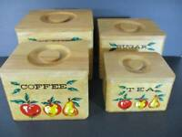 Retro Mid Century Wooden Canister Set Tongue & Groove Construction Apples