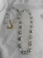 "Silvered Crystal Bead 36"" Strand Necklace Huge Joan Rivers 14Mm Faceted Clear &"
