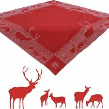 "Deer Winter Embroidery Tablecloth Table overlay 34 x 34"" square Polyester, Red"