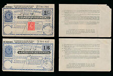 GB KG6 POSTAL ORDERS ADMIRALTY CANCELS 1945 to EAST AFRICA LTD 1/6 + 2/- + 1d