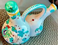Perugia ITALY Vintage One Piece Oil & Vinegar CRUET Set - ROOSTER Flower Design