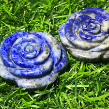 Natural Hand Carved Quartz Crystal Lapis lazuli roses flower healing .1pc