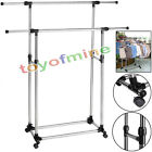 Double Adjustable Portable Clothes Rack Hanger Rolling Garment Stand Heavy Duty