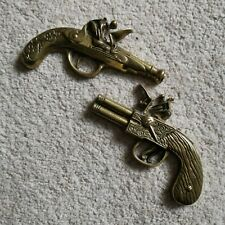 Pair Vintage Cast Brass Flintock Gun 3D Wall Hangings Plaque Decorative Retro