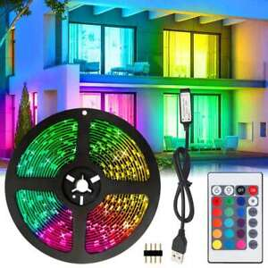 USB 5V 5050RGB LED Strip Light Colour Changing TV Backlight+24Key Remote Control