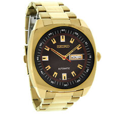 Seiko Recraft Automatic Mens Black Day/Date Dial Gold Tone Watch SNKM98
