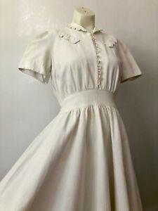 Vintage 1930s 40s FOGA White Waffle Cotton Pique Dress Glass Bubble Button Belt