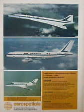 10/1974 PUB AEROSPATIALE AVION AIRBUS CONCORDE CORVETTE AIR FRANCE ORIGINAL AD