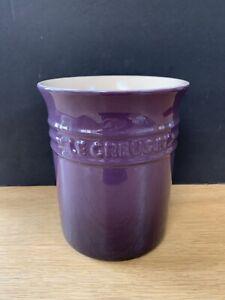 Le Creuset Large Utensil Jar / Plant Pot Purple Violet Stoneware Jar 1.1 Litre