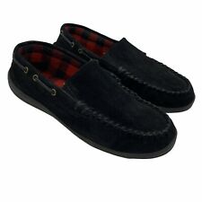 Clarks Mens Slippers Shoes Size 12M Black Suede Moc Cushion Lined Rubber Sole