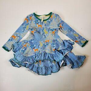 Matilda Jane Girls Dress Neck Of The Woods Blue Deer 2 Flaws