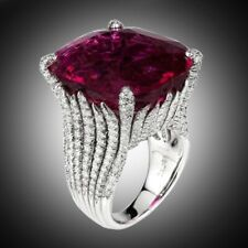 Beauteous Women's Fashion 925 Silver With 18.52CT Red Ruby & Sparkling CZ Ring
