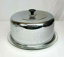 """Vintage Glass Footed 10"""" CAKE PLATTER Plate w Heavy STAINLESS STEEL Dome Cover"""