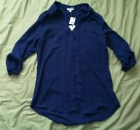 EXPRESS Women's Bright Blue Convertible Slim Shirt Size S Small New With Tags