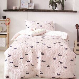 Swan Blush Lightly Quilted Quilt Cover Set - SINGLE DOUBLE