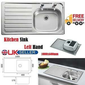 New Stainless Steel Single Bowl Sit On Sink 1000 mm x 600 mm Left Hand Drainer