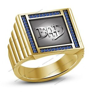 Blue Sapphire Yellow Gold Finish  Michael Jackson BAD Album Ring For Men's