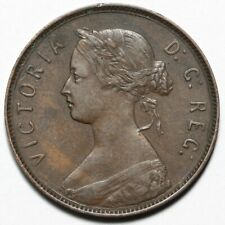 1880 QUEEN VICTORIA CANADA NEWFOUNDLAND BRONZE LARGE 1 ONE CENT COIN