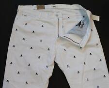 POLO RALPH LAUREN Big & Tall Mens White Skull Crossbone Jeans NWT $159 44 B x 32