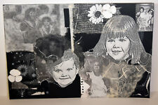 """16"""" Vintage Mixed Media Collage Abstract Art Smiling Baby Boy Girl Portraits"""