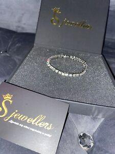 Mens 1 Row Tennis Bracelet Hip Hop Iced Bling Jewellery Silver New