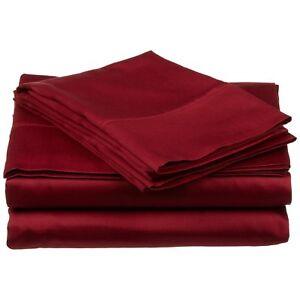 Bed Sheet Set - Burgundy - Solid Color Choose Deep Pocket 1000 Thread Count 4PCs