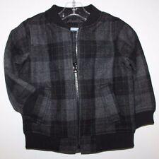 BABY GAP Boy Size 18-24M Plaid Wool Blend Full Zip Bomber Jacket Coat Gray Black
