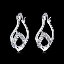 925Sterling Solid Silver Jewelry Crystal Waterdrop Hoop Earrings For Women E780
