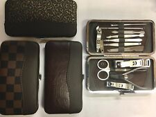 12 Pcs   Professional Manicure Pedicure Set Travel Grooming Kit With Brown Case