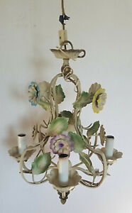 VTG* 60s* French Tole* 4 light Chandelier *leafs/flowers*  Shabby Chic* Kitsch*