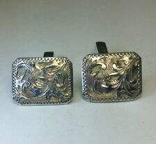 c1940 Japanese Vintage Solid Sterling Silver Scroll Designed Cufflinks C139