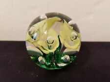 Vintage Italian Murano St Clair Art Glass Paperweight Green Yellow Flowers