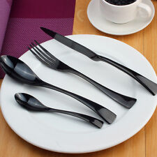 Stainless Steel Dinnerware 16 Piece Black Cutlery Set Knives Fork Spoon Teaspoon