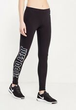 Womens Nike Club Logo 2 Gym Sports Workout Fitted Leggings - Black and White S