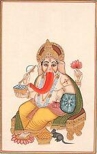 Ganesha Painting Indian Hindu Hand Painted Paper Watercolor Ganesh Religious Art