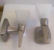 RV PAIR 12 Volt Brush Nickel Torch Style Wall Light Lamp White Alabaster Glass