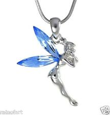 "Tinker Bell W Swarovski Crystal TINKERBELL Fairy Blue Wings Pendant 18"" Chain"