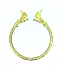 Antique Bracelet Bangle Gilt Metal Dragon Heads Unusual Costume Art Nouveau 1910