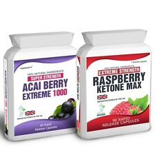 90 Raspberry Ketone Plus 60 Acai Berry 1000 Pills Free Weight Loss Dieting Tips
