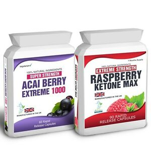 90 Raspberry Ketone Plus 60 Acai Berry 1000 Pills Free Weight Loss Dieting Tips