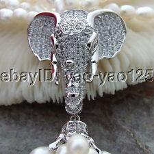 "S121004 19"" 4 Strands White Rice Pearl Necklace CZ Pendant"