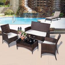 4tlg Gartengarnitur Rattanmöbel Lounge Sitzgruppe Sofa Garten Set Sitzgarnitur