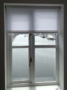 Roller blinds plain non blackout white square edge up to 2.5 mts wide no braid