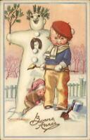 Christmas - MAUZAN Little Boy in Beret & Snowman Old Postcard