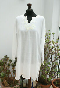 Ladies White Cotton Summer Beach Sarong (M) 12-14