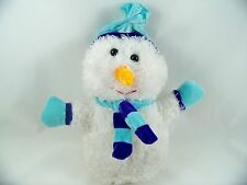 """Snowman 9"""" Fuzzy Stuffed Plush Teal Blue Hat Scarf 'Best Made Toys Limited'"""