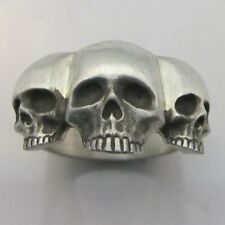 MJG STERLING SILVER 3 SKULL RING @ 23 GRAMS . HARLEY. BIKER. GUITAR PLAYER.10.5