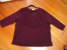 SARA top  burgundy stretch embroidered 3X as bought *