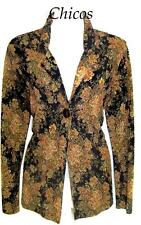 Womens Size 0 Chicos Textured Floral Open Front Stretchy Tunic  Layering Jacket