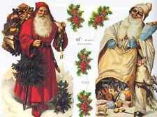 vintage style Die Cut Santa Claus Father Christmas Scrap Scrapbook projects